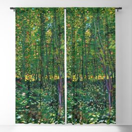 Brush and Underbrush flower and forest landscape by Vincent van Gogh Blackout Curtain