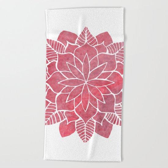 Red Mandala Beach Towel