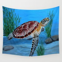 sea turtle Wall Tapestries featuring Sea turtle  by maggs326