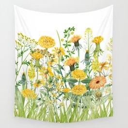 Yellow Scandinavian Wildflowers  Meadow  Wall Tapestry
