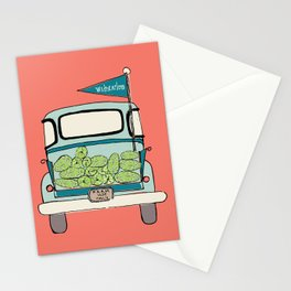 Watermelon Truck on Pink Stationery Cards