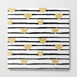 cute pattern with hand drawn gold hearts on black and white stripes Metal Print