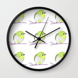 Little green bird Wall Clock