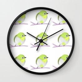 Little green bird Wall Clock