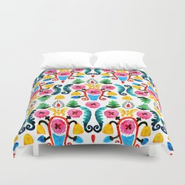 Colorful oriental watercolor floral pattern. Duvet Cover