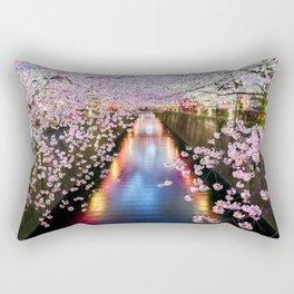 Cherry Blossom in pink   Japan Nakameguro River Rectangular Pillow