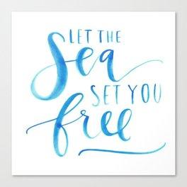 Sea Ocean Love Blue Watercolor Brushstroke Calligraphy  Canvas Print