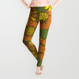 Orange, Brown, Yellow and Green Retro Daisy Pattern Leggings
