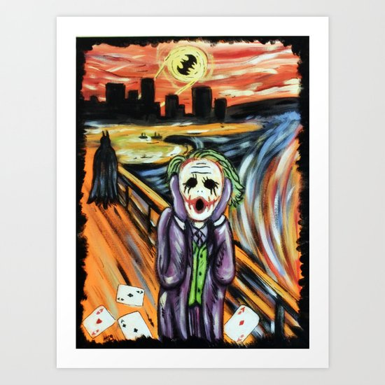 the joker scream art print by msg imaging society6. Black Bedroom Furniture Sets. Home Design Ideas