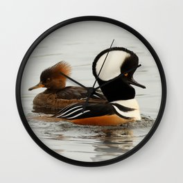 A Tale of Two Hooded Mergansers Wall Clock