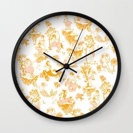Astrology-Inspired Zodiac Gold Toile Pattern Wall Clock