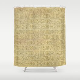 Golden Celtic Pattern on canvas texture Shower Curtain