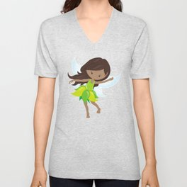 African American Fairy, Fairy In Green Dress Unisex V-Neck