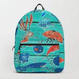 Blue & Orange Under the Sea Backpack