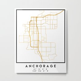ANCHORAGE ALASKA CITY STREET MAP ART Metal Print