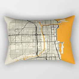 Chicago Map Moon Rectangular Pillow