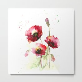 Watercolor flowers of poppy Metal Print