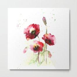 Watercolor flowers of poppy Metal Print