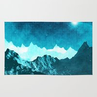 outer space Area & Throw Rugs featuring Outer Space Mountains by Phil Perkins