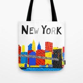 Playful Manhattan Skyline Illustration Tote Bag