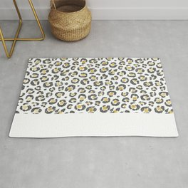 Glamorous Faux Sparkly Gold & Silver Leopard Rug