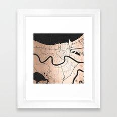 New Orleans Rose Gold and Black Map Framed Art Print
