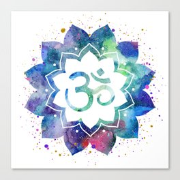 Om Sign Lotus Flower Canvas Print