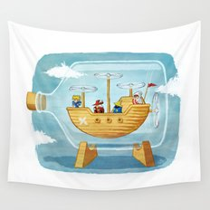 AIRSHIP IN A BOTTLE Wall Tapestry