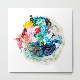 Rainbow Earth Paint Moon Love Metal Print