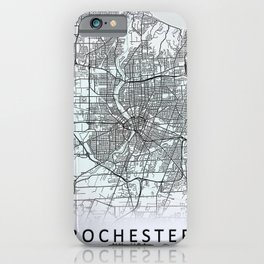 Rochester, NY, USA, White, City, Map iPhone Case