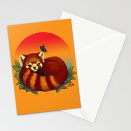 Red Panda Has Blue Butterfly Friend Stationery Cards