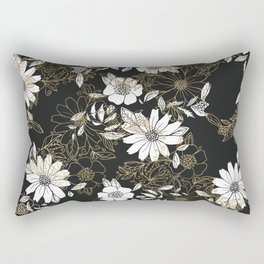 Modern black white faux gold elegant floral Rectangular Pillow