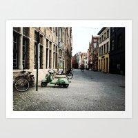 motorbike Art Prints featuring Motorbike by AU Designs Studio