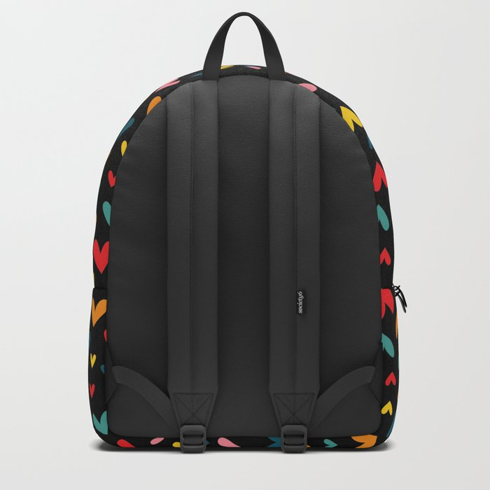 Happy Hearts on Black Backpack