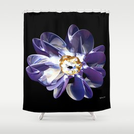 Blue & Gold Flower Shower Curtain