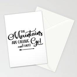 The Mountains are calling (logo) Stationery Cards