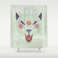 tattoos Shower Curtains featuring Cosmic Cat by LordofMasks