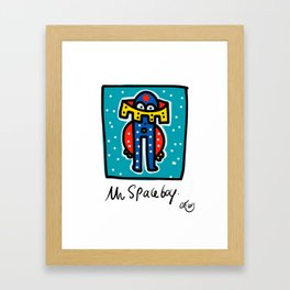 Mr Space Boy Street Art Graffiti Illustration for Kids Framed Art Print