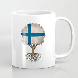 Vintage Tree of Life with Flag of Finland Coffee Mug