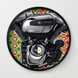 Portugal Biker Collage flag Wall Clock