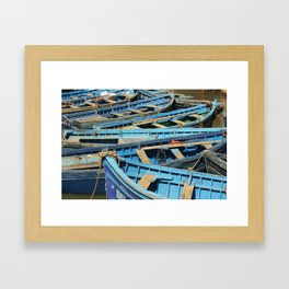 Blue boats Framed Art Print