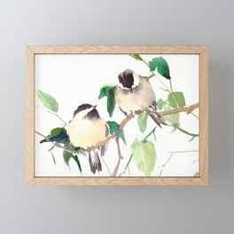 Chickadees, birds on tree, bird design neutral colors Framed Mini Art Print