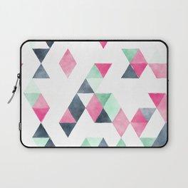 Geometrical pink mint green white gray watercolor Laptop Sleeve