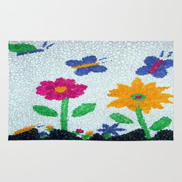 Butterflies and spring flowers bubble art Rug