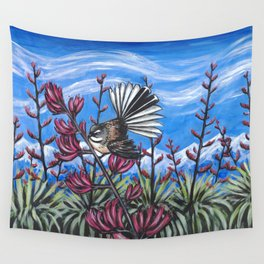 Fantail in the Harakeke Wall Tapestry