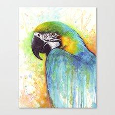 Bird Watercolor Animal Macaw Canvas Print