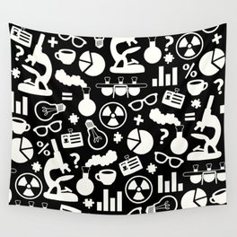 Black and White Science Pattern Wall Tapestry