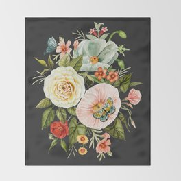 Wildflower and Butterflies Bouquet on Charcoal Black Throw Blanket