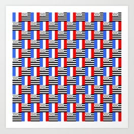 Mix of flag: france and brittany Art Print