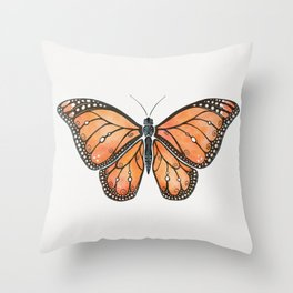 Watercolor Monarch Butterfly Throw Pillow